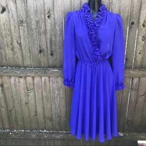Vintage 1970s Purple Ruffle Sheer Disco Dress S